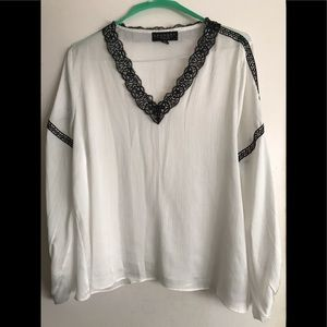 White Satin Blouse with Black Lace Trim